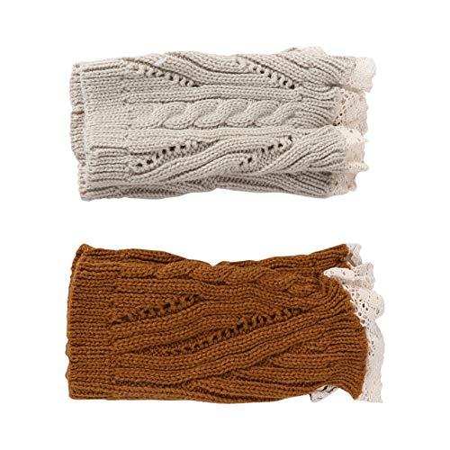 Happyyami 2 Pares de Mujeres Calentadores de Piernas de Punto Puños de Bota Topper Crochet de Punto Calcetines Largos de Bota Invierno Cálido Lana hasta La Rodilla Calcetines sin Pies para
