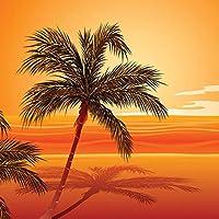 XIAOHUKK 3d自己接着壁紙防水PVCビニールビーチ日没写真背景壁装飾壁壁画/自己接着大きな壁紙