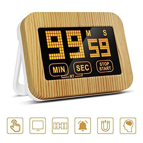 ZealBoom Touchscreen Küchenuhr Timer Digitaler, Küchentimer Magnetisch Elektronische Eieruhr Stoppuhr mit LCD Display und Stand, Lauter Wecker für Kochen/Studie/Sport Übung