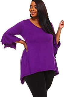 WearOrGoBare Womens Purple Plus Size Bell Sleeves Tunic Top