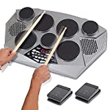 JZJSZB Portable Electric Tabletop Drum Set Machine with Digital Panel, 7 Drum Pad, Hi-Hat/Kick Bass Pedal Controller,Suitable for Kids Children Beginners