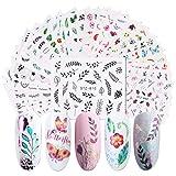 Lurrose 29 hojas de pegatinas de arte de uñas set hojas y flores transferencia de agua autoadhesivas calcomanías de uñas arte diy nail art tattoo manicure para niñas mujeres