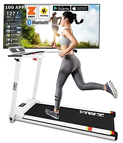 Tapis Roulant elettrico Home Fitness, Tappeto da corsa pieghevole (2.5 HP picco) salvaspazio con Bluetooth integrato, Sensore Cardio, Velocità regolabile 14 km h, App KINOMAP ZWIFT (Bianco)