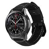 MroTech 22mm Pulsera Piel compatible para Samsung Gear S3 Frontier/Classic/Galaxy Watch 46mm Correas de Repuesto para Huawei Watch GT2 /GT Sport/Active/Elegant/Classic Band de Reloj Cuero Retro Negro