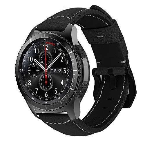 MroTech Ersatzband für Gear S3 Armband Echtes Leder Uhrenarmband 22mm Lederarmband Wildleder kompatibel für Huawei Watch GT, Gear S3 Frontier Classic, Galaxy Watch 46mm, Fossil Herren - Schwarz