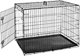 AmazonBasics Single Door Folding Metal Dog or Pet Crate Kennel with Tray, 42 x 28 x 30 Inches