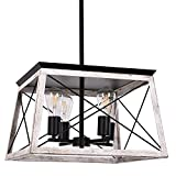 Luupyia Farmhouse Pendant Light Fixture, 4-Lights, Adjustable, Rectangular Rustic Chandeliers Farmhouse Light Fixture Vintage Island Lighting for Dining Room, Entryway and Living Room Beige