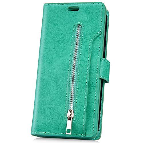 JAWSEU Kompatibel mit Huawei Mate 20 Pro Hülle,PU Leder Hülle Flip Hülle Magnet Schutzhülle Handyhülle Geldbörse mit 9 Kartenfach Brieftasche Reißverschluss Klapphülle Handytasche,Grün