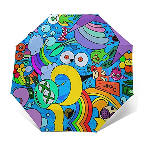 fepeng Paraguas de dibujos animados colorido automático tri-Fold Unisex impreso paraguas manual paraguas portátil paraguas, Dibujos animados coloridos, Taille unique