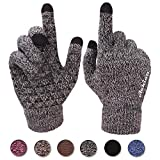 Achiou Touchscreen Gloves for Women Men Winter Warm Knit Wool Lined Texting (Black...