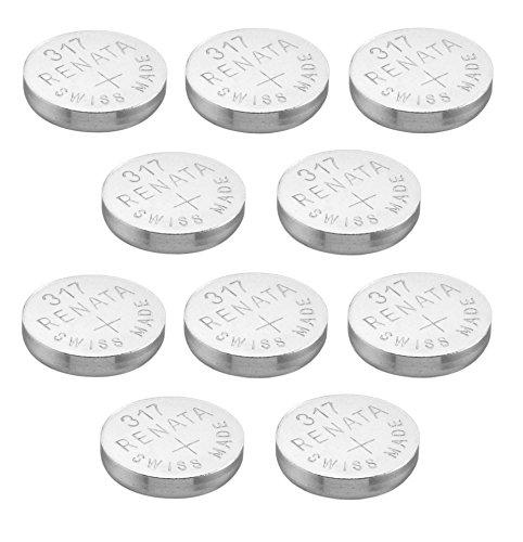 10 x Renata 317 Knopfzellen Batterie / Uhrenbatterie Swiss, Silberoxid, 1,5 V (SR516SW
