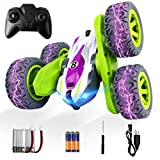 ADDSMILE Remote Control Car for Boys Girls, RC Stunt Car 4WD 2.4Ghz Double Sided 360° Rotating RC Cars High Speed Vehicle Toy with Headlights for Kids Over 4 Years Old (All Batteries Included) (Green)
