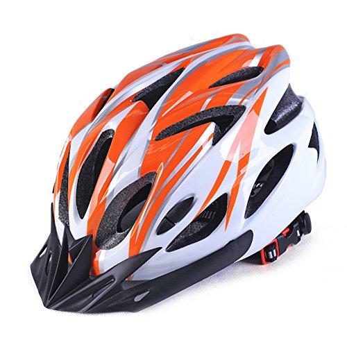 GCDN - Casco de bicicleta con visera, ajustable, ligero, para bicicleta de montaña, de carretera para adultos, jóvenes y niños, Unisex adulto, color Naranja+blanco, tamaño Tamaño libre