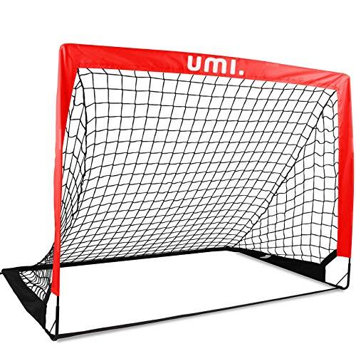 Amazon Brand–Umi– But de Football - Filet de Football Portable - 4x3,Rouge Pomme