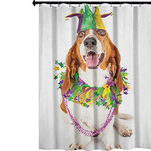 YUAZHOQI Mardi Gras Printing Shower Curtain Happy Smiling Basset Hound Dog Wearing a Jester Hat Neck Garland Bead Necklace Waterproof Shower Curtains for Bathroom 72' x 78' Multicolor