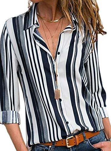 Astylish Women Color Block Button Down Long Roll up Sleeves Work Shirt Blouse Tops Plus Size X-Large Size 16 18 White