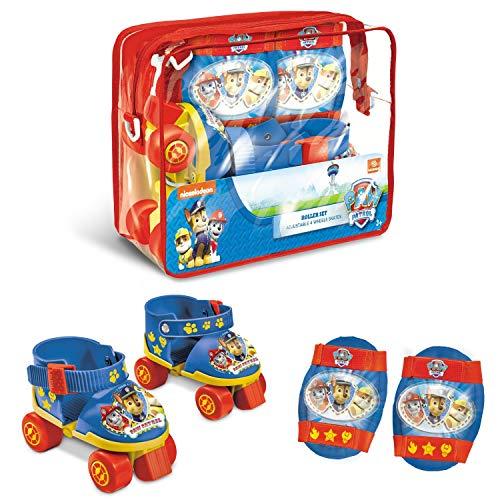 Mondo Toys-Pattini a rotelle Regolabili Paw Patrol per Bambini-Taglia dal 22 al 29 - Set Completo di Borsa Trasparente, gomitiere e Ginocchiere, 28312