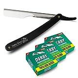 Shaving Factory Kit de Rasage Traditionnel 300 Lames de Rasoir Professionnelles à Simple Tranchant + Rasoir Droit