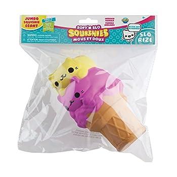 The Orb Factory Jumbo Kitty Ice Cream Cone Soft n Slo Squishies Pink/Yellow 10.83  x 9.25   x 3.50