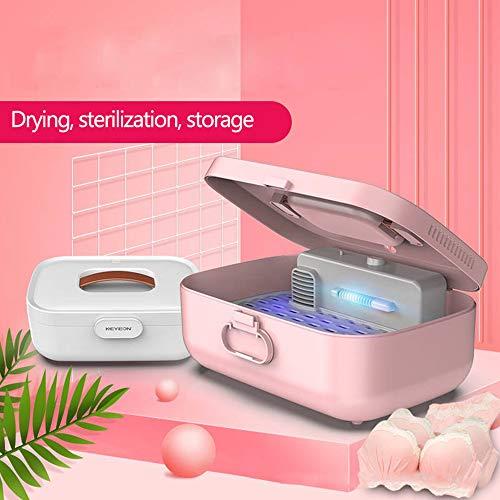UV Ozono Esterilizador Caja Portátil 3 EN 1 Desinfección El secado Almacenamiento Bolso Multifunción Ropa interior Luz ultravioleta Limpiador Esterilizador Máquina, 130W, 7 litros,Blanco