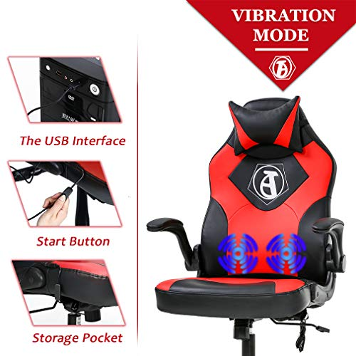 PC Gaming Chair Racing Office Chair Ergonomic Desk Chair Massage Executive PU Leather Computer Chair with Lumbar Support Armrest Headrest Task Rolling Swivel Chair for Women Adults(Red)