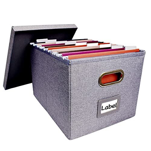 File Storage Organizer, Collapsible Office File Boxes with Lid, Linen Filing Hanging Folder Document Organizers for Letter/Legal Size with 4 Slide Rails
