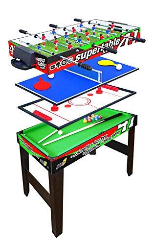 Sport One Tavolo Multigioco Mini Supertable - 4 Giochi in 1 - Calciobalilla 3 Vs 3 Aste Rientranti/Ping Pong/Tavolo da Biliardo & Speed Hockey - Cm. 97,5 X 48 X 69 - Novita
