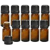 10 pièces 5 ML de flacons d'échantillons d'huile Essentielle en Verre ambré avec Orifice et Capuchon pour récipient d'aromathérapie de Parfum