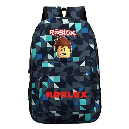 Unisex Roblox Mochila de Lona Portátil Dibujos Animados de impresión School Bag Mochilas Escolares Juveniles