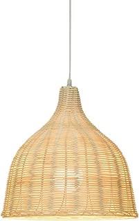 KIRIN Bamboo Rattan Pendant Hanging Light Fxture Lamp Nordic Chandelier for Kitchen Bedroom Living Room Restaurant Hotel E26 Base (13.78