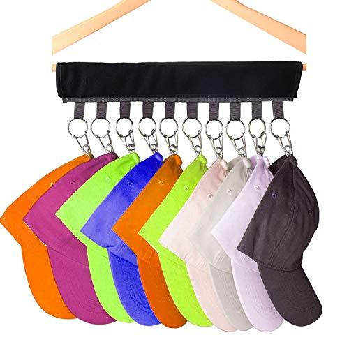 2 Pack Cap Organizer Hanger, Tenedor de la gorra de béisbol 10, Sombrero Organizador Para Armario, Perchas plegables para la ropa Rack de secado plegable para viajes (Negro)