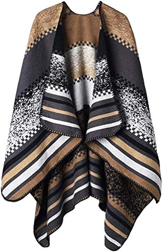 RENFEIYUAN Frauen-Winter Poncho Maxi-Warme Decke Cape Wraps Schal Cardigans weihnachtsmann mütze (Color : Color G Khaki)