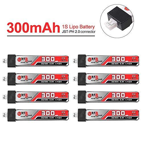 300mAh 1S LiPo Batería 30C 3.8V / 4.35V Batería LiHv con Conector JST-PH 2.0 para Mobula 7 Tiny Whoop Eachine US65 UK65 65mm Whoop FPV Racing Drone 8PCS