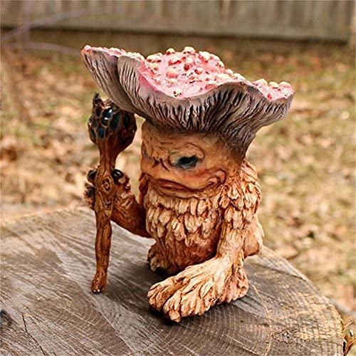 Hipeya Pilz Monster Deko Fairy Shaman Wizard Troll Statue Figur Sammlerstück Skulptur Dekoration Lustige Pilze Zauberer Garten Statuen Harz Handwerk Ornamente für Hausgarten Guardian