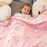 Cozy Bliss Glow in The Dark Throw Blanket, 40'x50', Premium Super Soft Fuzzy Fluffy Warm Cozy Powder Plush Blanket with Stars, Gift for Kids Girls Boys (Pink)