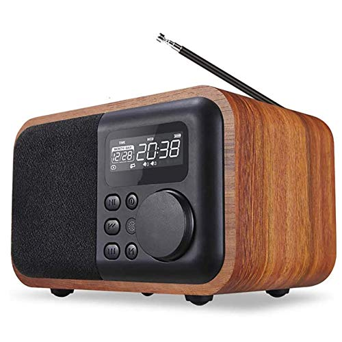 Angelay-Tian Bluetooth 4.1 Radio de Altavoz Radio FM, Radio de Madera con alimentación USB TF TF Tarjeta de Ranura for Escritorio Dormitorio al Aire Libre (Color : A)