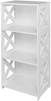 2 Tier Bookcase Bookshelf Storage Bin Display Shelving Organizer 23.6*15.7*8.4in