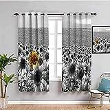 ZLYYH cortinas para habitaciones Gris cielo planta girasol WxH:132x183cm(66x183cm x2 paneles) Cortinas opacas con impresión 3D, cortinas opacas con aislamiento térmico súper suaves, cortinas con ojale