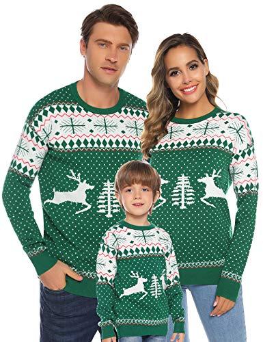 Aibrou Familie Festliche Gestrickte Pullover Weihnachtspullover Rundhals Sweater Strickpullover Grün-Kinder 90 (empfolen: 2-3 Jahre Alt)