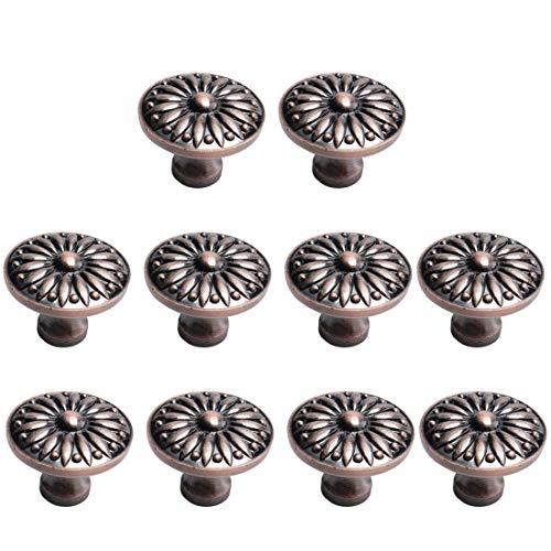 YeVhear - Juego de 10 pomos para cajones, aleación de zinc, 36 mm, botones redondos de metal, tiradores de tirador para armarios, armarios, roperos, cómodas, color rojo y cobre