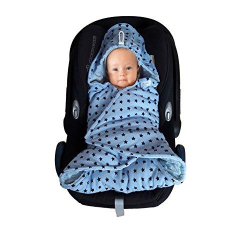 SWADDYL ® Baby Einschlagdecke I Maxi cosi Decke I Babydecke für Babyschale I Fußsack Maxi-cosi - Übergangszeit oder Winter (Blau)