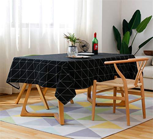 SONGHJ Moderno Cuadrado A Cuadros Blanco Y Negro Impermeable Tabla Ropa Paño Algodón Lino Mesa de Centro Mantel Manteles Mantel Negro 140x240cm