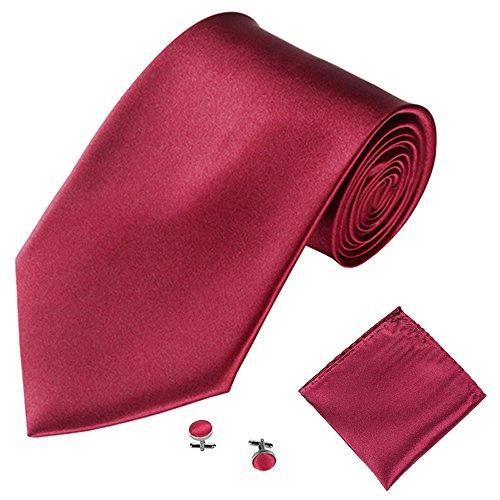 Xmiral Klassische Krawatte Herren Party Einstecktuch Taschentuch Manschettenknopf 3 STÜCKE(M)