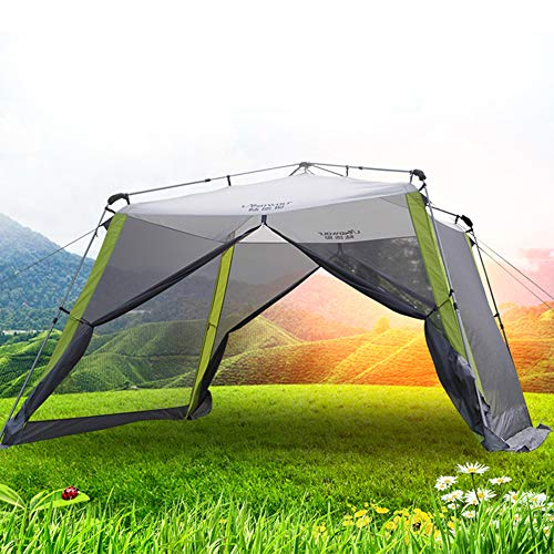 YANG 3×3m Garden Gazebo with Sides Five Man Tent Waterproof Canopy Awning Camping Backpacking Dome