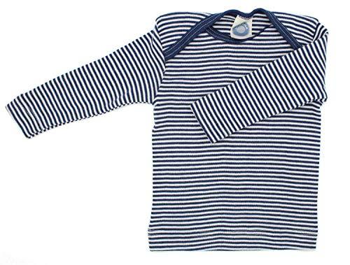 Cosilana Baby Schlupfhemd, Größe 74/80, Farbe geringelt Marine-Natur - Wollbody®GmbH