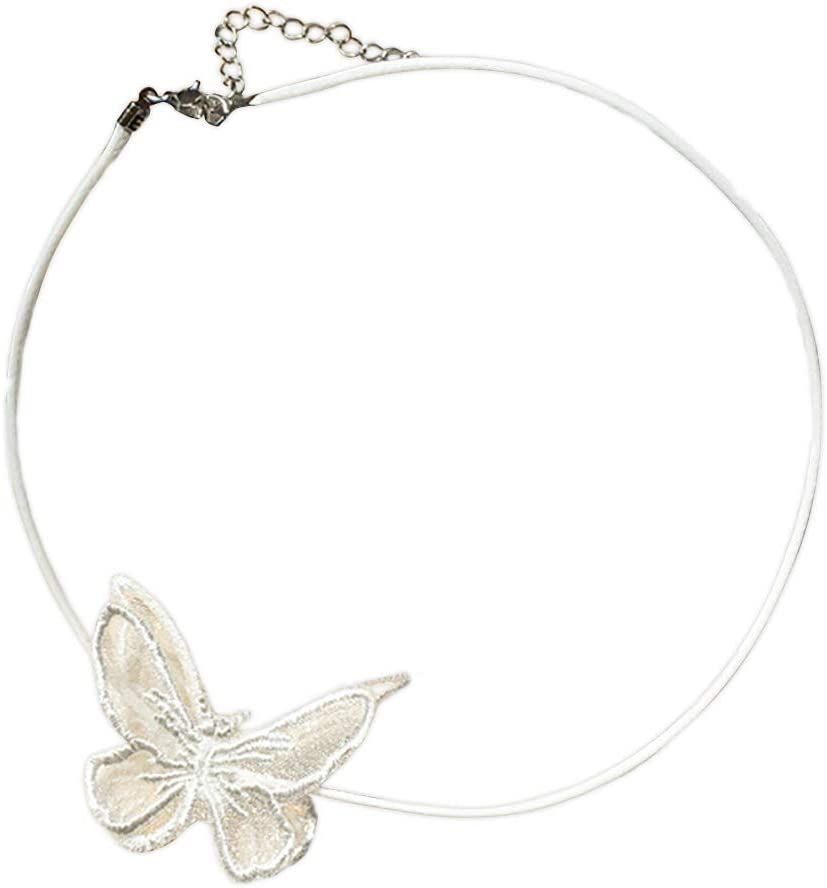 Firecolor Lace Butterfly Choker Adjustable Chain Necklace Classic Collar Necklace for Women,White