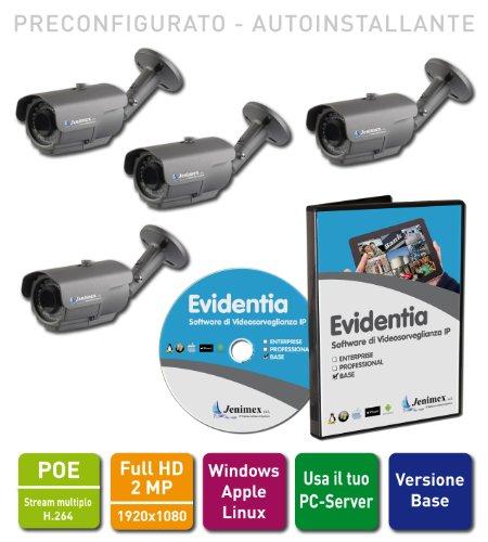 Jenimex Kit Videosorveglianza IP Full HD POE : VMS + 4 Telecamere IP 2MP 1920x1080