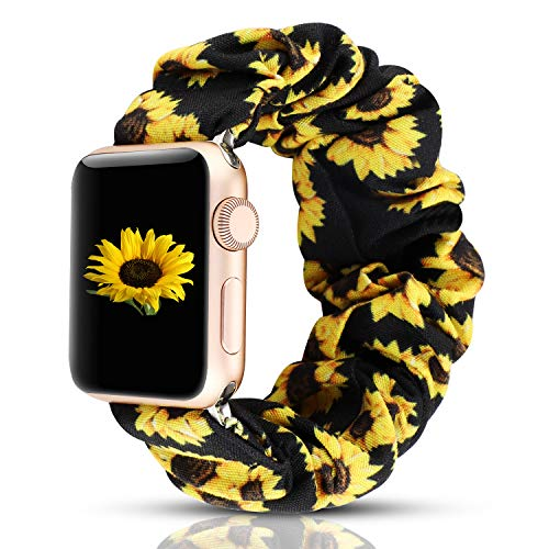WONMILLE Scrunchie Elastic Wrist Bracelet Compatible for Apple Watch Band 42mm/44mm, Fancy Elastic Hair Wristbands Replacement for iWatch Series 5/4/3/2/1 Women Girls (Sunflower, 42mm/44mm)