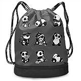 XCNGG Lindo Panda Set Mochila con cordón Mochila Impermeable Estampado Bolsa de Cuerda Bolsa de Cuerda de Gran tamaño para Adultos Niños Niñas Deportes Gimnasio Yoga