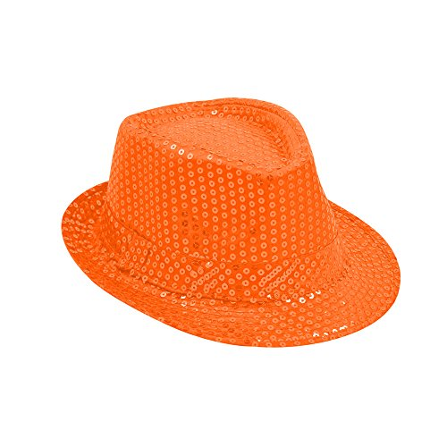 TrendandStylez Pailletten Hut Glitzer Kappe Sylvester Karneval Party 15 Farben (Neon Orange)